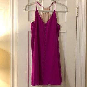 Magenta button front dress